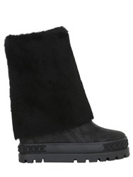 Casadei 120Mm Shearling Wedged Boots