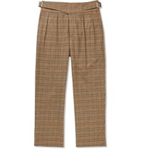 Noah Pleated Checked Wool And Cashmere Blend Trousers Brown