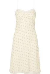 The Row Santi Lace Trimmed Floral Print Silk Georgette Dress Cream