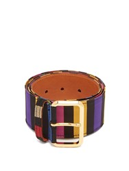 Etro Striped Satin Belt Multi