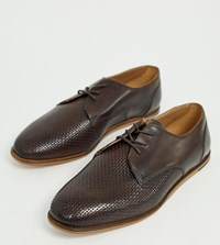 Hudson H By Wide Fit Crayford Embossed Woven Lace Up Shoes In Brown