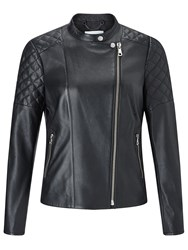 Jigsaw Nappa Leather Biker Jacket Black