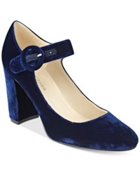 Marc Fisher Shaylie Mary Jane Pumps Women's Shoes Blue Velvet