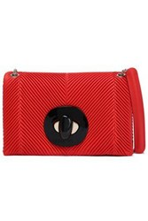Giorgio Armani Woman Ribbed Leather Shoulder Bag Red
