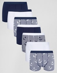 Asos Trunks With Anchor Print 7 Pack Save Blue White Multi