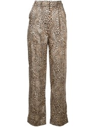 Torn By Ronny Kobo Leopard Print Straight Trousers Brown
