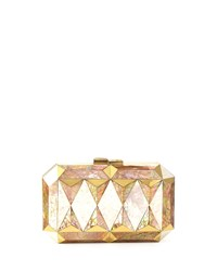 Sara Faceted Shell Minaudiere White Gold Whtie Gold Rafe