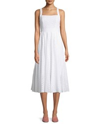 Fame And Partners The Price Square Neck Eyelet Cotton Midi Dress Ivory