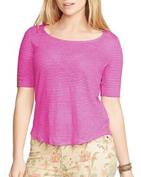 Ralph Lauren Plus Striped Boat Neck Tee Wild Berry