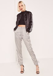 Missguided Silver Satin Lace Up Side Joggers