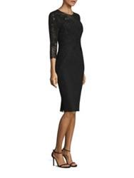 Rickie Freeman For Teri Jon Lace And Neoprene Sheath Dress Black