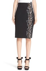 Versace Women's Lace Insert Stretch Cady Pencil Skirt