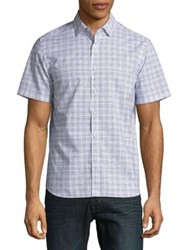 Black Brown Short Sleeve Check Button Down Shirt Aegean Blue