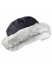 Dents Ladies Wax Cotton Hat With Faux Fur Brim Black