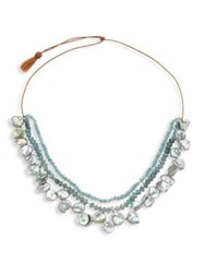Lena Skadegard 5Mm Grey Keshi Freshwater Pearl And Aquamarine Floating Cord Necklace