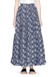 Co Floral Embroidered Ruffle Maxi Skirt Blue