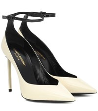 Saint Laurent Zoe Patent Leather Pumps Neutrals