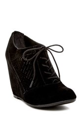 Fergalicious Tess Lace Up Wedge Bootie Black
