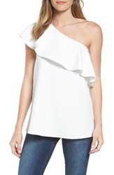 Pleione Women's One Shoulder Ruffle Top Off White