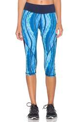 Pink Lotus Ocean Blocked Capri Legging Blue