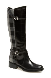 Charles David 'Pirella' Riding Boot Women Black Grey Leather Fabric