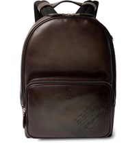 Berluti Scritto Leather Backpack Brown