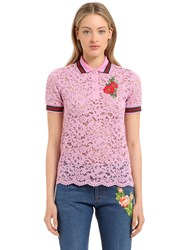 Gucci Embroidered Cotton Blend Lace Polo Shirt