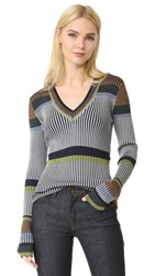 Diane Von Furstenberg Long Sleeve V Neck Sweater Alexander Navy Multi