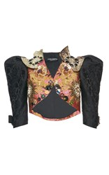 Dolce And Gabbana Button Embellished Bolero Puff Jacket Black Gold Pink