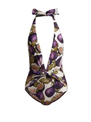 Adriana Degreas Fig Print Halterneck Swimsuit Purple Print