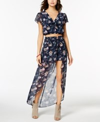Amy Byer Bcx Juniors' Printed Crop Top And Overlay Shorts 2 Pc. Dress Navy Ground Floral