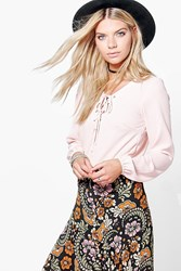 Boohoo Lace Up Sleeve Crop Blouse Nude