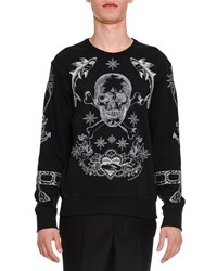 Alexander Mcqueen Embroidered Skull Long Sleeve Sweatshirt Black Size Small