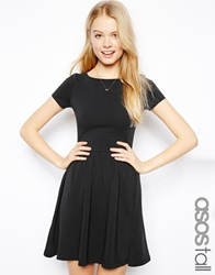 Asos Tall Skater Dress With Slash Neck And Short Sleeves