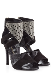 Tamara Mellon Embellished Leather And Suede Sandals