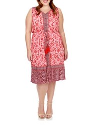 Lucky Brand Plus Floral Print Dress Red Mult