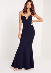 Missguided Scuba Bandeau Fishtail Maxi Dress Navy Blue