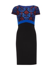 Gina Bacconi Crepe And Corded Embroidery Lace Dress Blue
