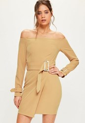 Missguided Tall Exclusive Nude Bardot Belted Buckle Detail Mini Dress Sand