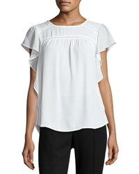 Marled By Reunited Ladder Stitch Inset Flutter Sleeve Blouse Ivory