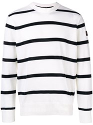 Paul And Shark Logo Patch Striped Sweater White