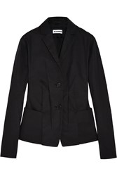 Jil Sander Pleated Cotton Blend Canvas Blazer Black