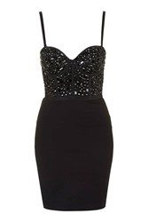 Black Out Black Bodycon Beaded Dress By Wyldr
