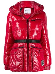 Dkny Belted Puffer Jacket Red