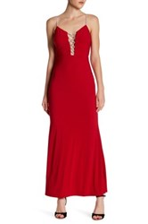Jump Embellished Detail Gown Red