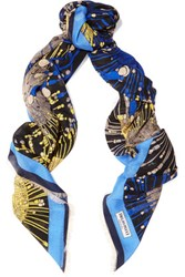 Emilio Pucci Printed Wool Silk And Cashmere Blend Scarf Royal Blue