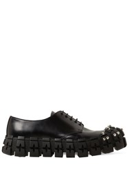 Prada Leather Studded Lace Up Shoes Black