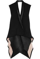 Haider Ackermann Satin Trimmed Stretch Wool Waistcoat Black