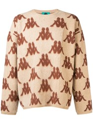 Kappa All Over Logo Sweater Nude And Neutrals