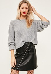 Missguided Grey High Neck Ribbed Jumper